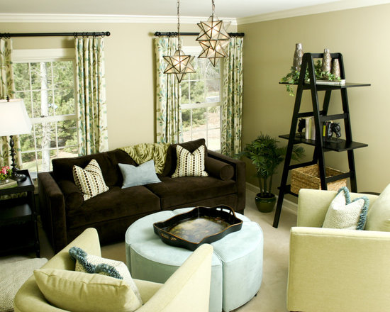 Brown living room home design ideas pictures remodel and for Green and beige living room ideas