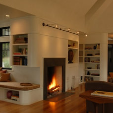 Transitional Living Room by Nautilus Architects LLC