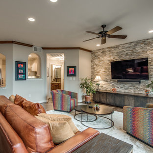 Inspiration for a mid-sized transitional open concept medium tone wood floor family room remodel in Dallas with multicolored walls
