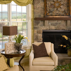 Transitional Family Room by Interiors by Donna Hoffman
