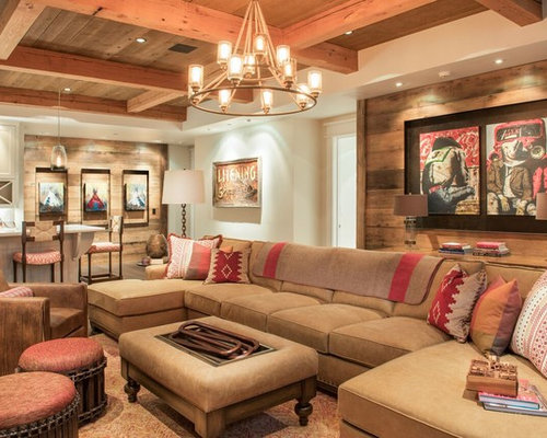 Southwestern Open Concept Family Room Idea In Other