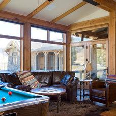 Rustic Family Room by Van Bryan Studio Architects