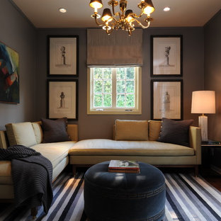 Inspiration for a transitional family room remodel in New Orleans with gray walls