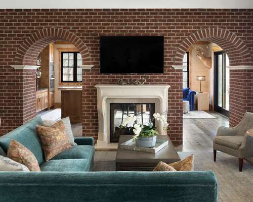 Family Room   Traditional Enclosed Dark Wood Floor Family Room Idea In  Minneapolis With Gray Walls