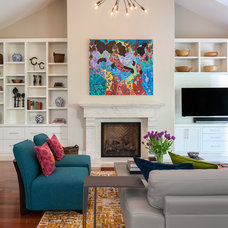 Transitional Family Room by Christine Sheldon Design