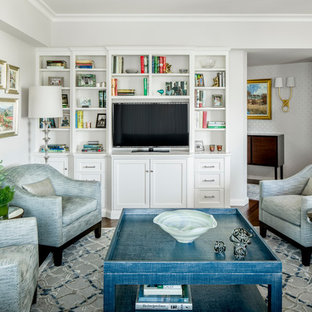 Design ideas for a small traditional open concept family room in Boston with grey walls, a built-in media wall and dark hardwood floors.