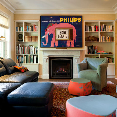 Inspiration for a contemporary family room remodel in Boston with yellow walls