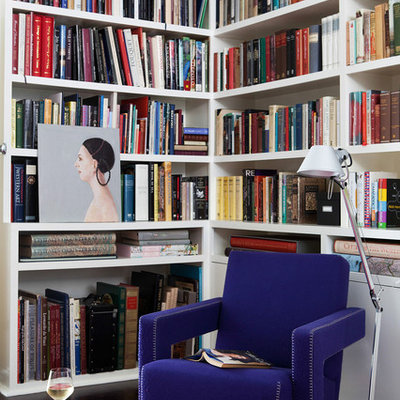 Inspiration for a small contemporary open concept dark wood floor family room library remodel in Melbourne with white walls