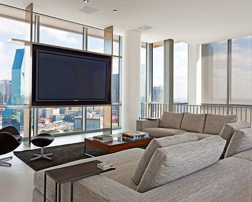 Tv in front of window houzz - Expansive large glass windows living room pros cons ...
