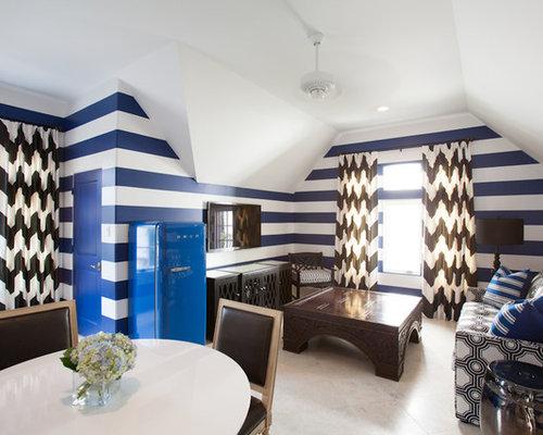 Mediterrane Wohnzimmer Mit Blauer Wandfarbe   Ideen, Design