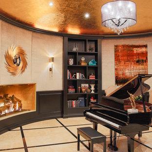 ラスベガスのコンテンポラリースタイルのおしゃれなファミリールーム (ミュージックルーム、セラミックタイルの床、標準型暖炉) の写真