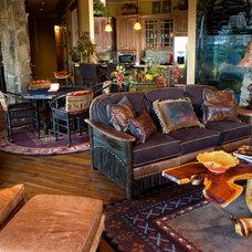 Rustic Family Room by Lakota Cove