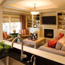 Transitional Family Room by J. Myers & Associates