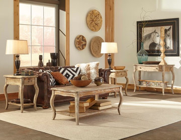 Southwestern Inspired Family Room with Aztec Details and Reclaimed Wood Furnitur