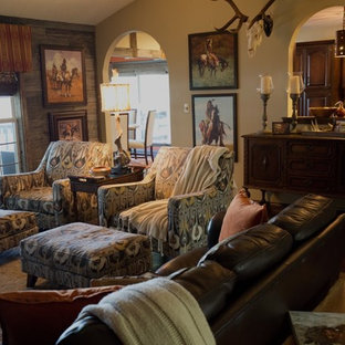 Inspiration for a mid-sized rustic open concept dark wood floor family room remodel in Nashville with multicolored walls and a tv stand