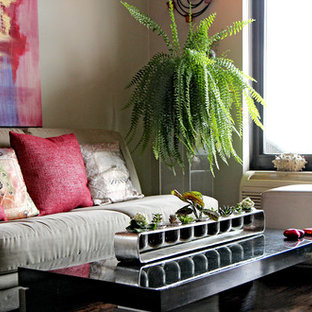 Example of a transitional family room design in New York