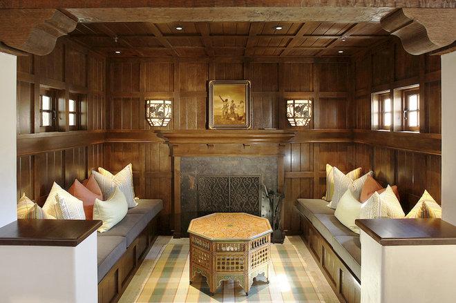 Mediterranean Family Room by John Malick & Associates