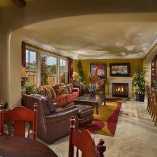Mediterranean Family Room by Michael Trahan Interior Design