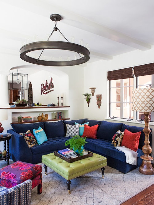 Blue Sofa Room Part - 37: Transitional Dark Wood Floor And Brown Floor Family Room Photo In Los  Angeles With White Walls