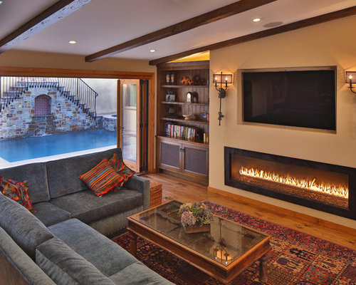 SaveEmail - Best Recessed Tv Above Fireplace Design Ideas & Remodel Pictures