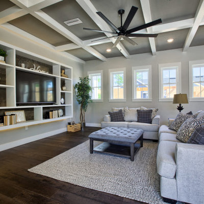Transitional family room photo in Jacksonville with a media wall
