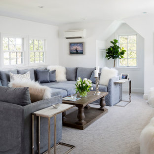 Example Of A Small Transitional Open Concept Carpeted And Gray Floor Family Room Design In Dc