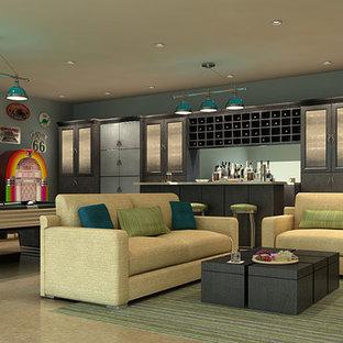 Idee per un ampio soggiorno design con sala giochi, pavimento in linoleum e TV a parete
