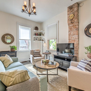 Example of a cottage chic open concept dark wood floor and brown floor family room design in St Louis with white walls and a tv stand