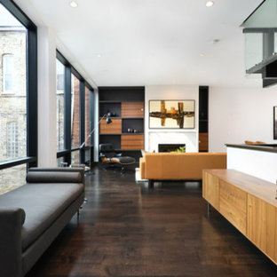 Inspiration for a mid-sized modern dark wood floor hallway remodel in Chicago with white walls