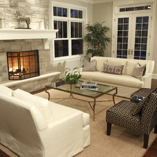 Transitional Family Room by Staging North Shore