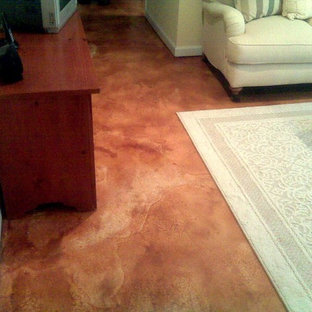 Stained Concrete Family Room Floor