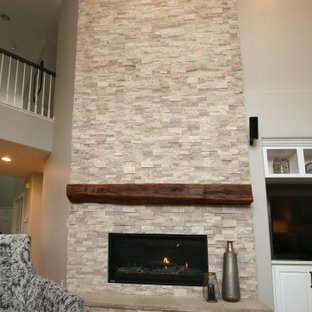 Statement floor to ceiling fireplace