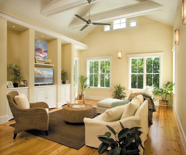 Beach Style Family Room by Tongue & Groove
