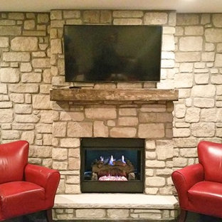 Stone Fireplace and Accent Wall