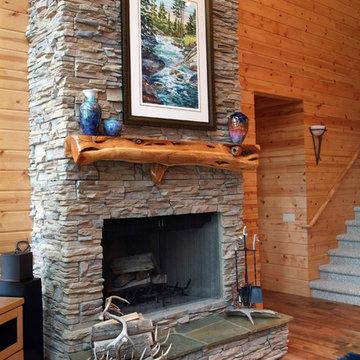Stone Fireplace & Juniper Mantel