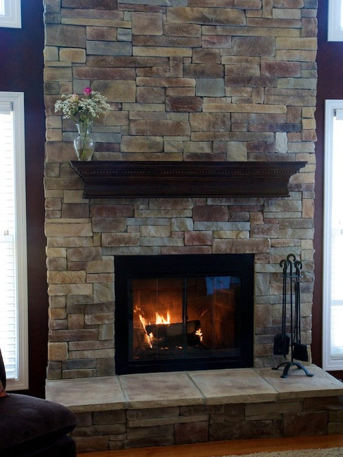 Real Stone Fireplace Home Design Ideas Pictures Remodel