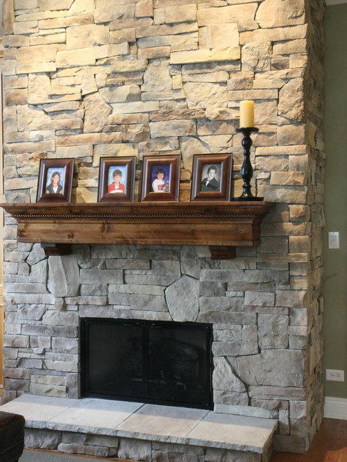 Stone fireplaces before after for Fireplace half stone