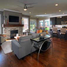 Transitional Family Room by Jagoe Homes Inc