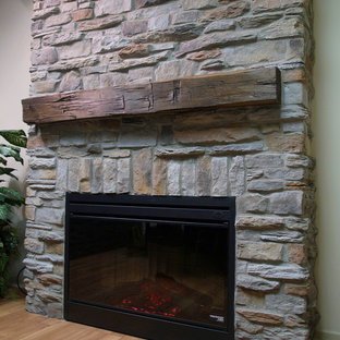 Reface Fireplace With Stone Mountain Style Family Room Photo In Toronto