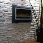 Interior Stone Accent Walls Contemporary Living Room
