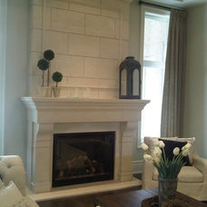 Traditional Family Room by Parsiena Design Mantels & Architectural Elements