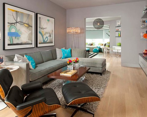 Mid Sized Contemporary Enclosed Light Wood Floor Family Room Idea In Dallas  With Gray Walls