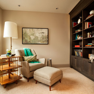 Transitional carpeted family room photo in Portland with beige walls