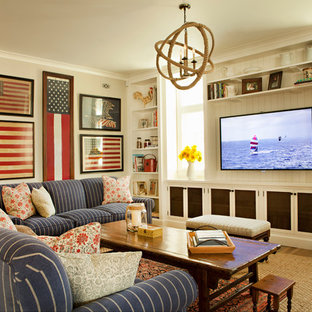 Example of a coastal medium tone wood floor family room design in Los Angeles with white walls