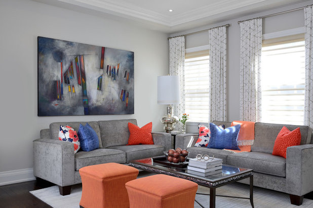 Transitional Family Room by Lumar Interiors