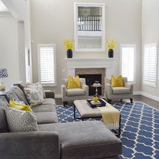 Transitional Family Room by Sita Montgomery Interiors