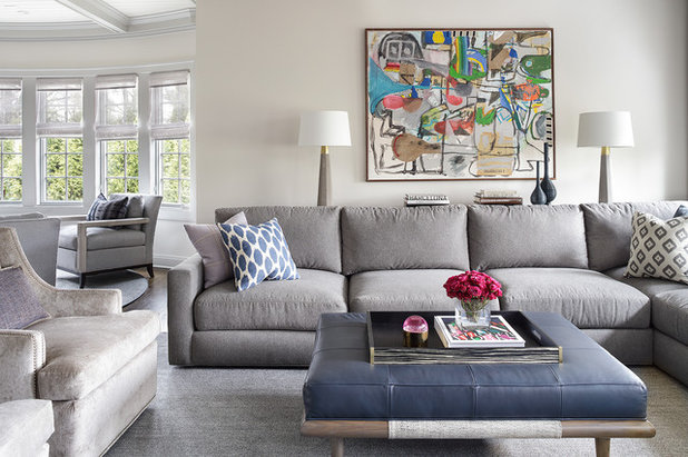 Transitional Family Room by Valerie Grant Interiors