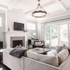 transitional family room by Summit Signature Homes, Inc.