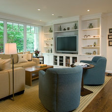 Transitional Family Room by Anthony Wilder Design/Build, Inc.