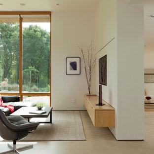 Идея дизайна: открытая гостиная комната среднего размера в стиле модернизм с белыми стенами, мультимедийным центром и полом из керамогранита без камина